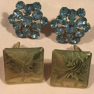 Jewelry - Vintage 60's Era Clip Earrings, 2 Pairs